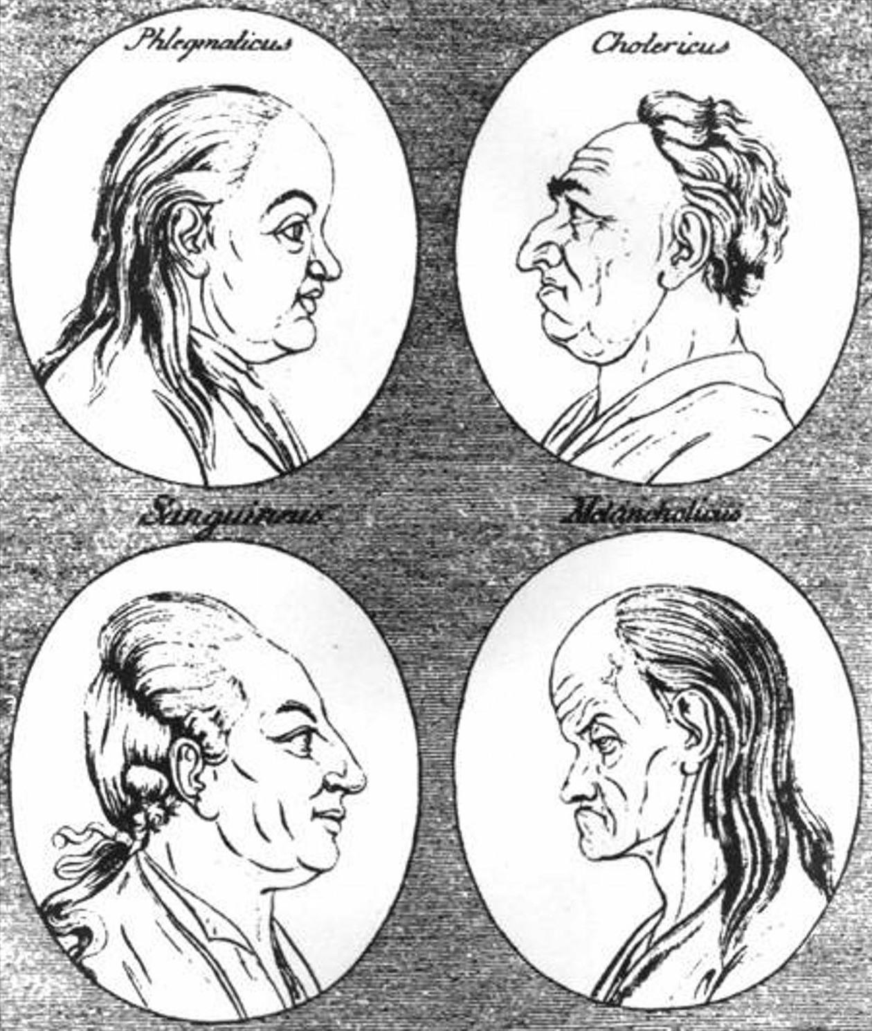 Johann Kaspar Lavater, Physiognomische Fragmente zur Beförderung der Menschenkenntnis und Menschenliebe (1775-1778): Flegmatique, cholérique, sanguin et mélancolique