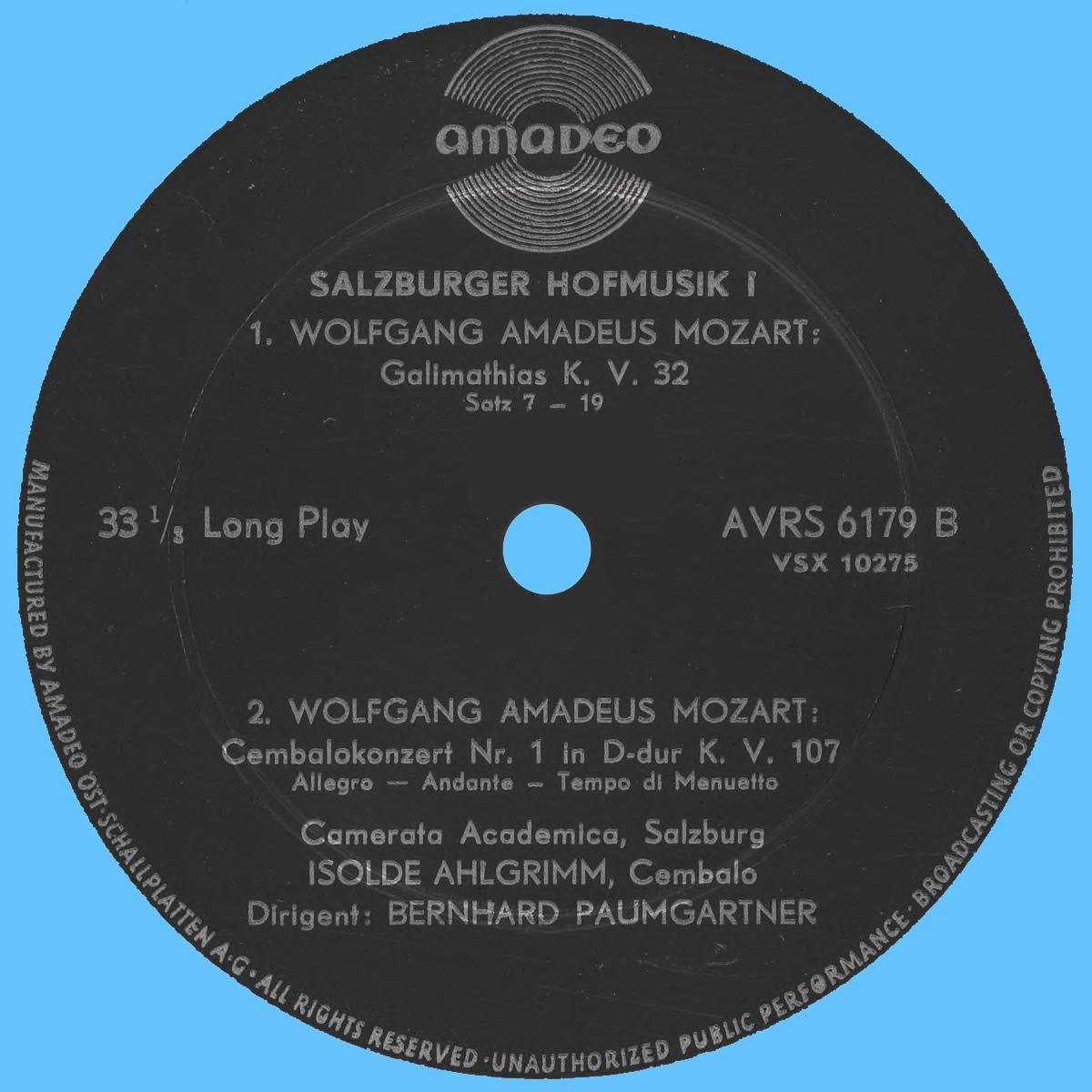Étiquette verso du disque Amadeo AVRS 6179