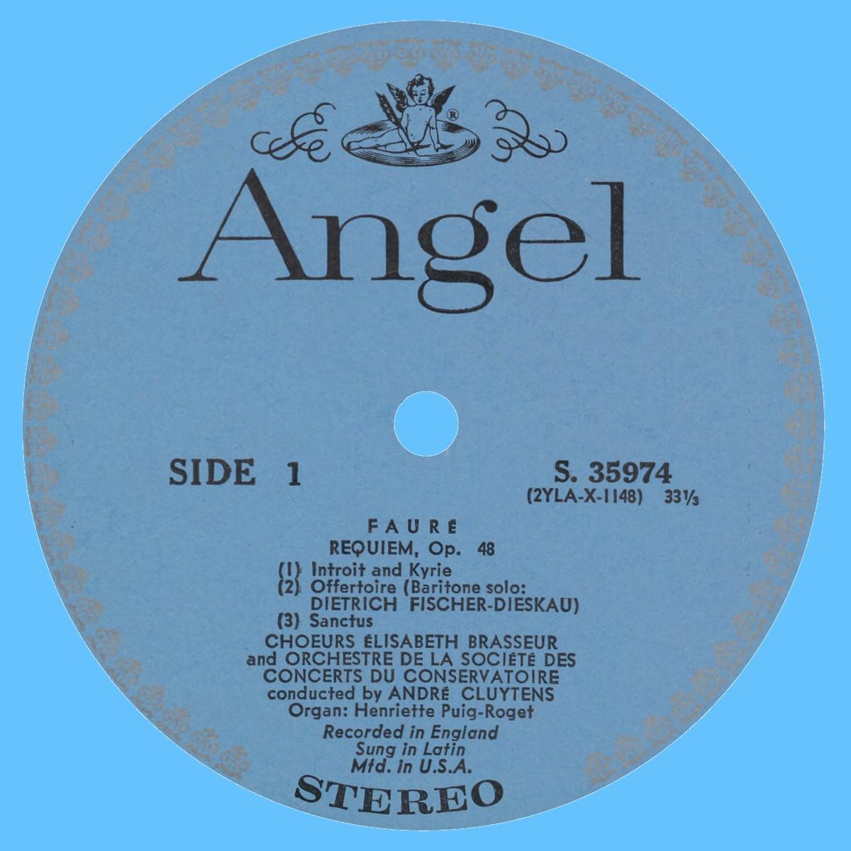 Étiquette recto du disque Angel S 35974