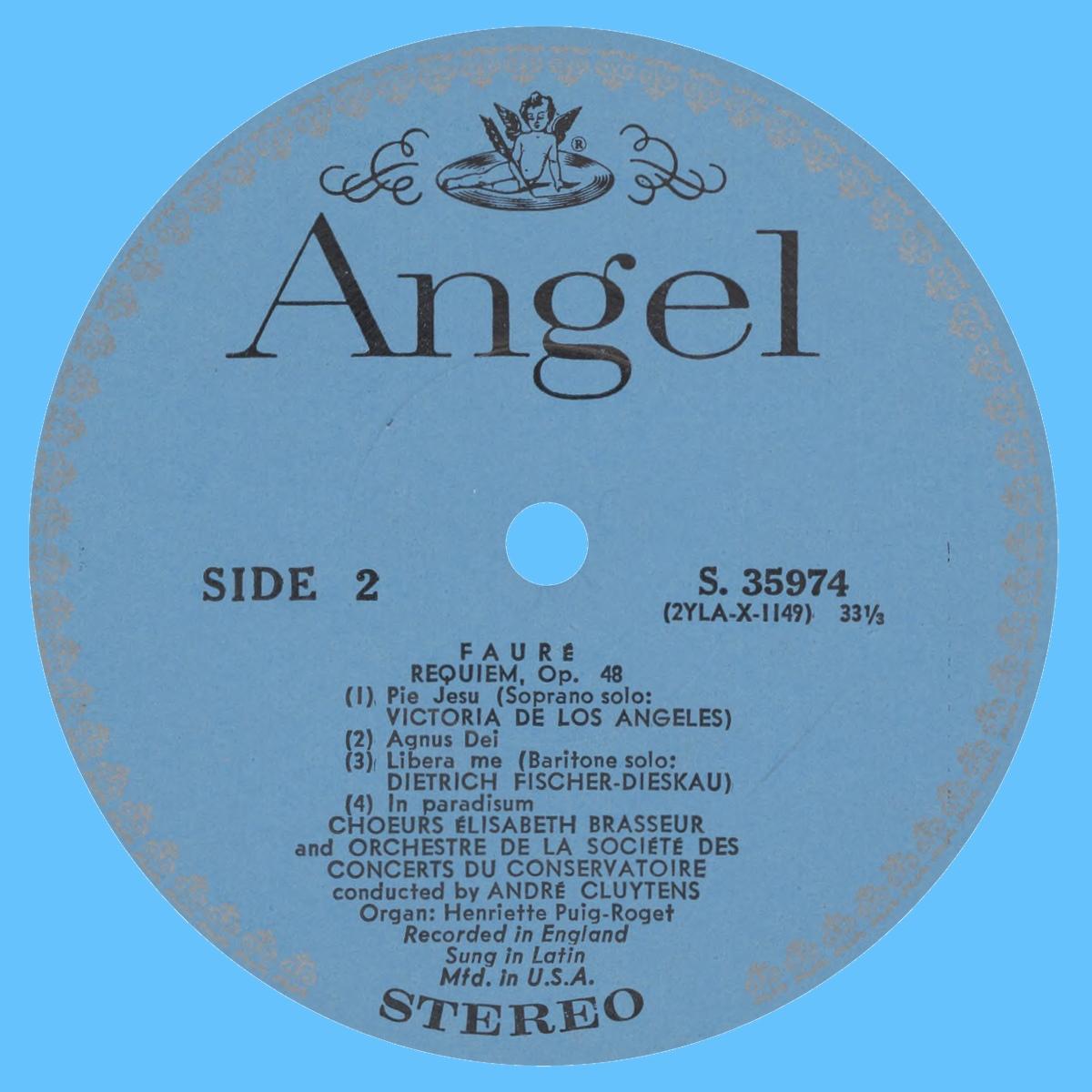 Étiquette verso du disque Angel S 35974