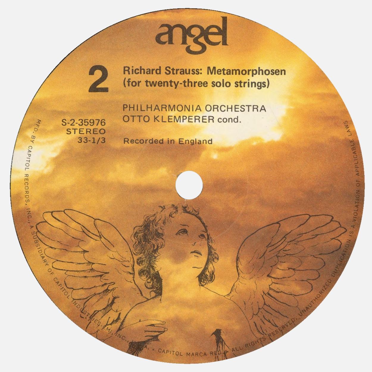 Étiquette verso du disque Angel S 35976