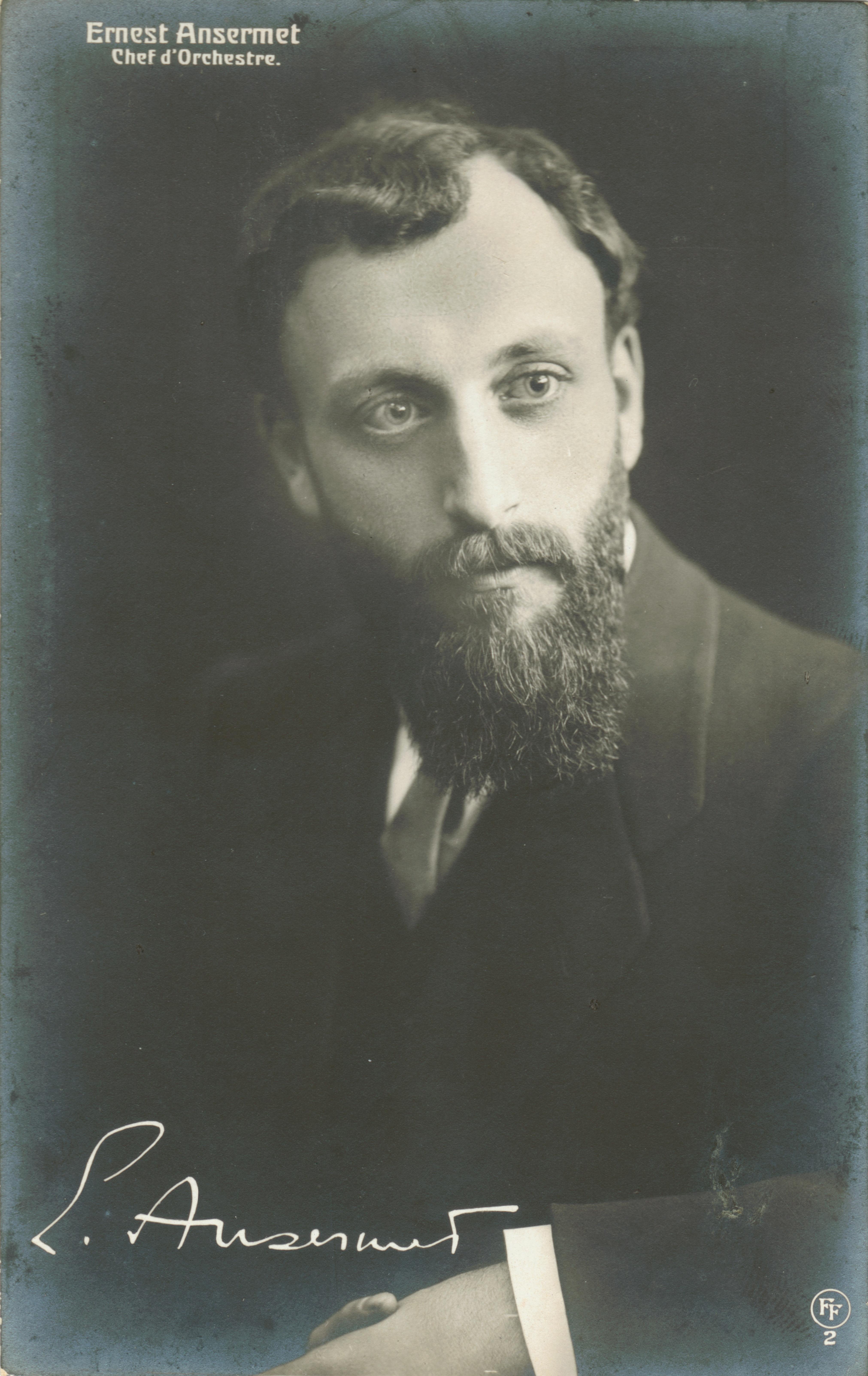 Le jeune Ernest ANSERMET, 1909, carte postale Foetisch Frères