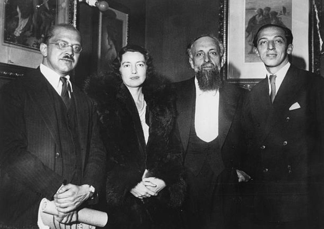 Ernest Ansermet, avec les compositeurs américains Sessions et Copland, 9 décembre 1931, Berlin, cliquer pour plus d'infos