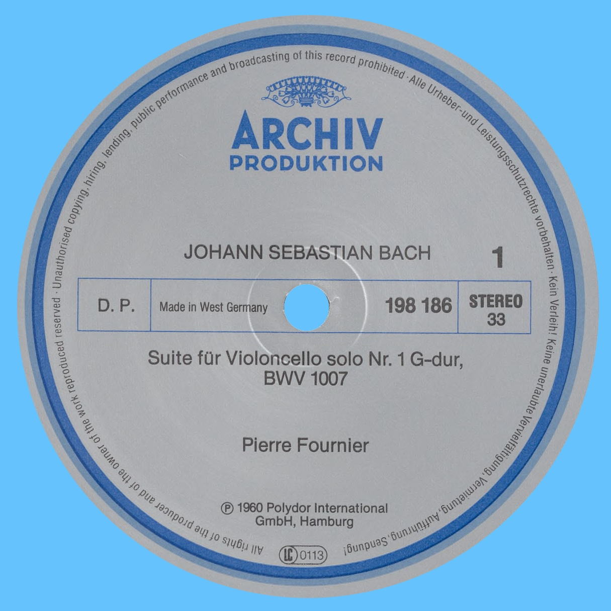 Étiquette recto du disque Archiv Produktion SAPM 198 186