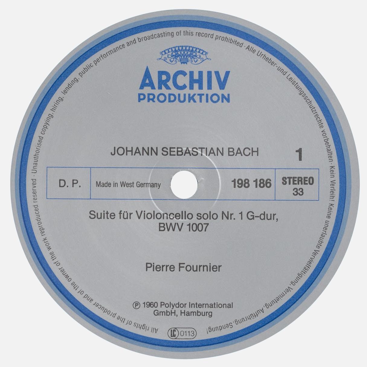 Étiquette recto du disque Archiv Produktion 198 186