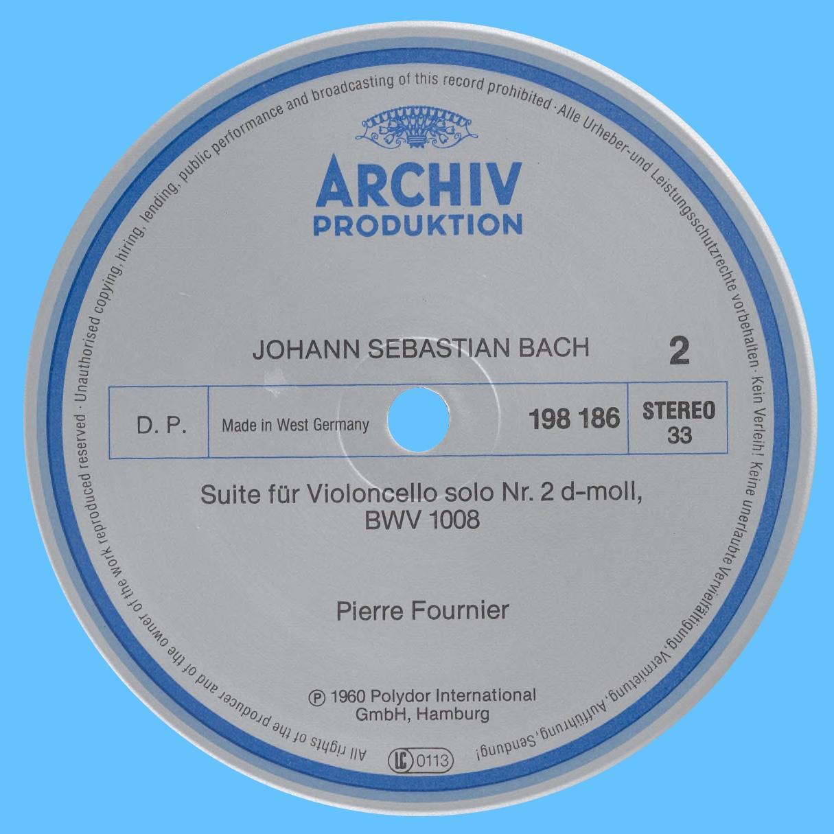 Étiquette verso du disque Archiv Produktion SAPM 198 186