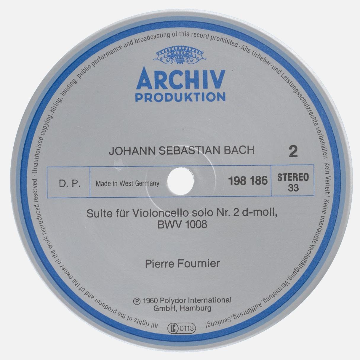 Étiquette verso du disque Archiv Produktion 198 186
