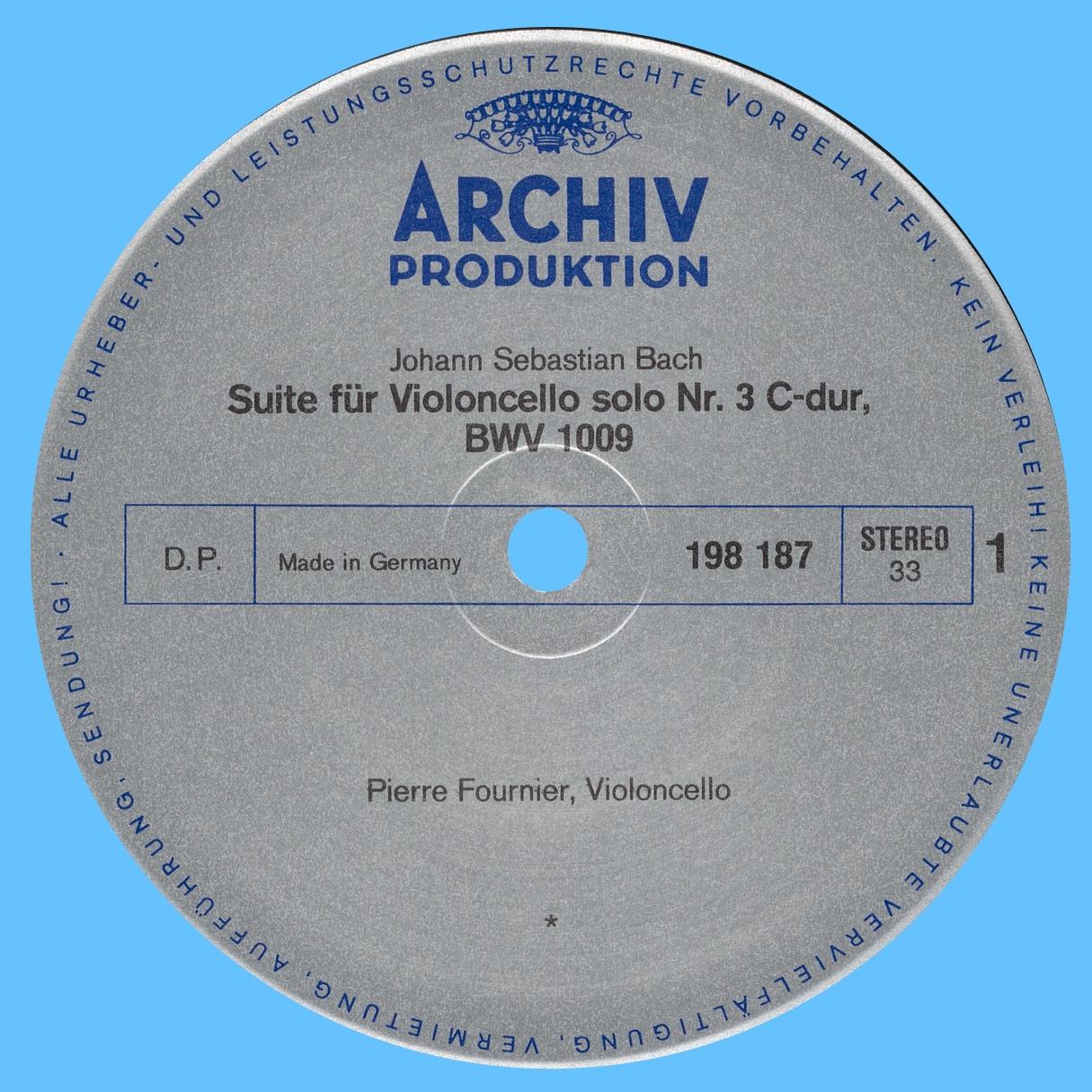 Étiquette recto du disque Archiv Produktion SAPM 198 187
