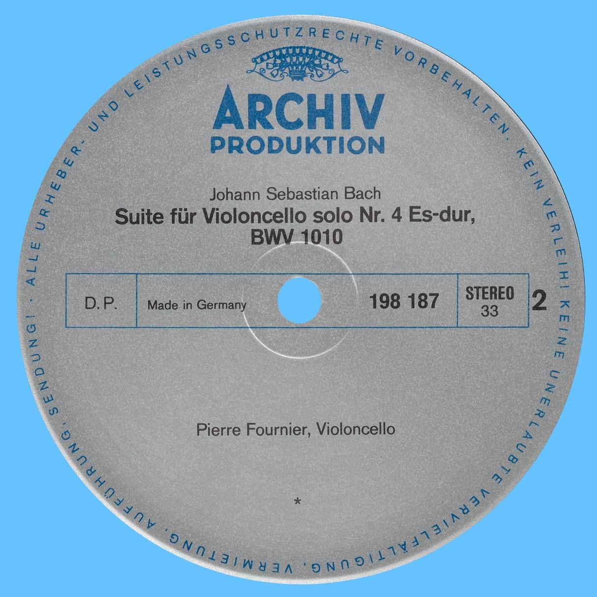 Étiquette verso du disque Archiv Produktion SAPM 198 187