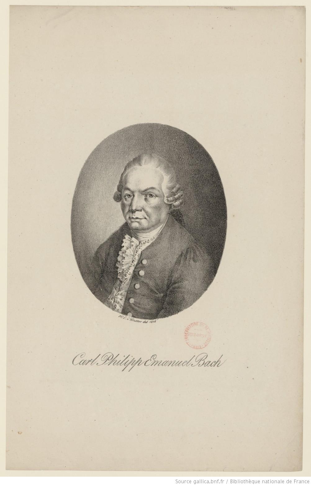 Carl Philipp Emanuel BACH d'après Heinrich. E. Wintter, cliquer pour voir l'original et ses références