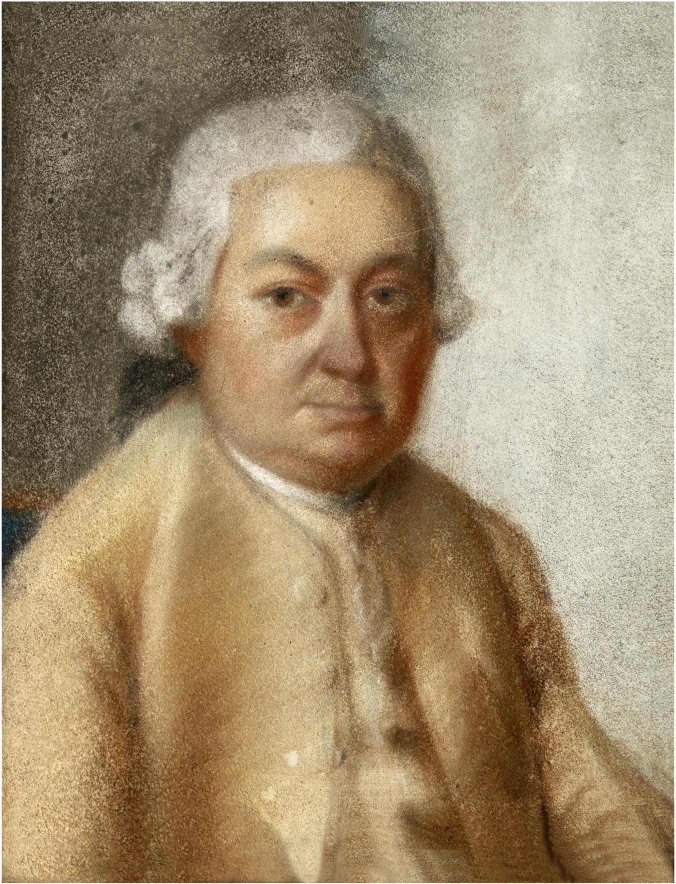 Carl Philipp Emanuel BACH peint par son neveu (6e degré) Johann Philipp Bach (1752–1846), env. 1780, cliquer pour voir l'original et ses références