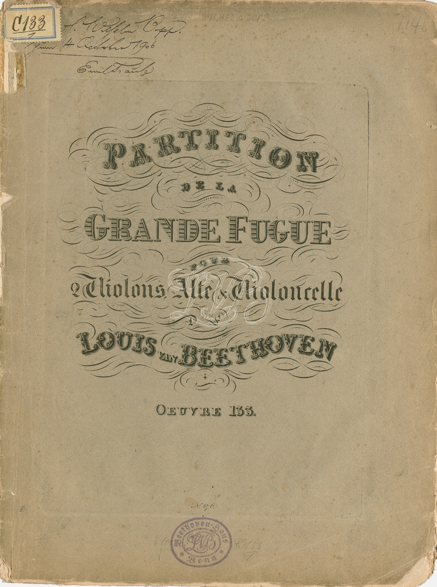 IMSLP, Page de garde de la partition de la première édition, Wien, Artaria, 1827