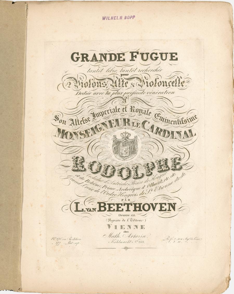 IMSLP, Page de titre de la partition de la première édition, Wien, Artaria, 1827