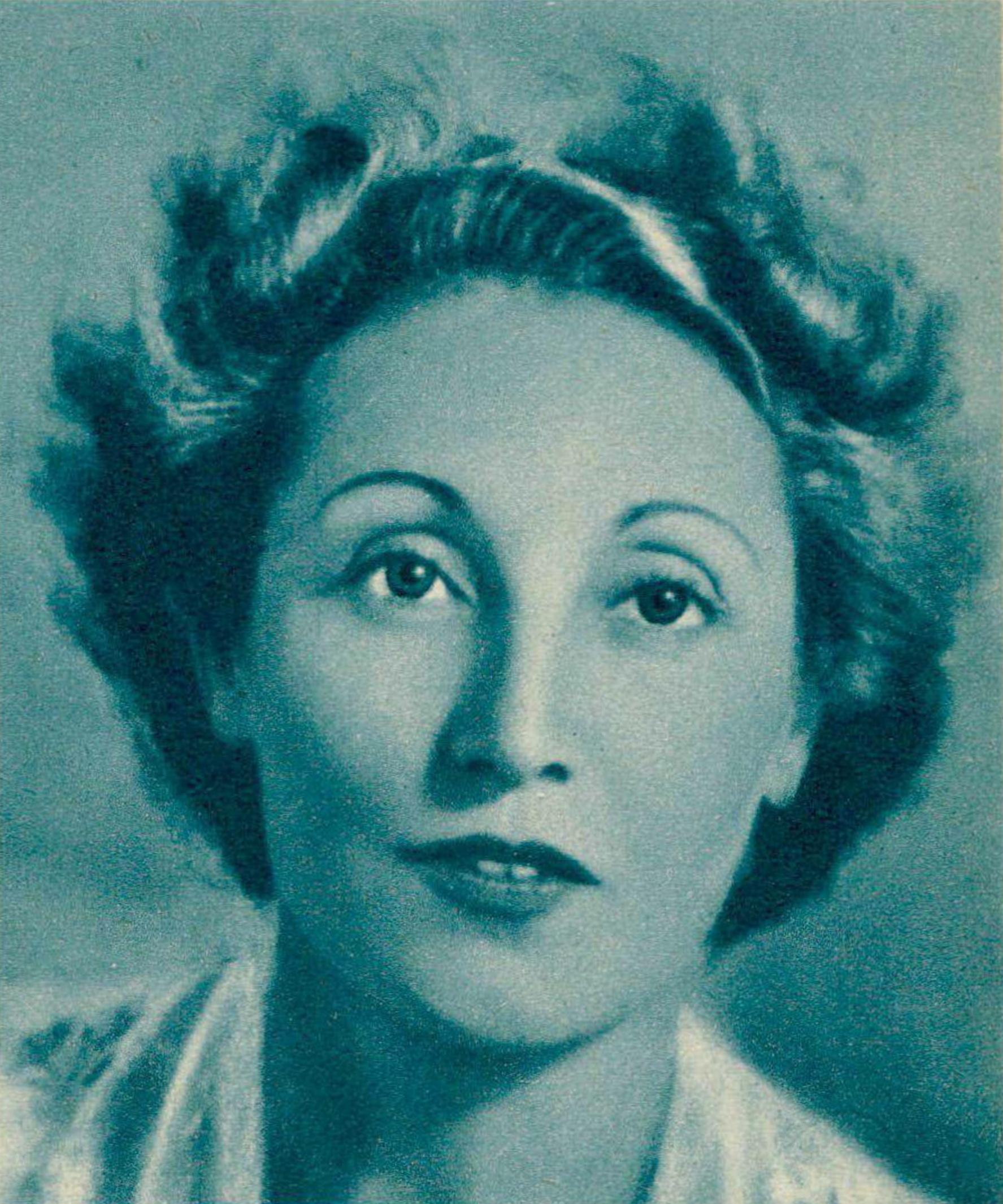 Jacqueline BLANCARD vers 1950, un portrait fait par ??, publié entre autres dans la revue Radio Actualités du 24 février 1950 en page 283
