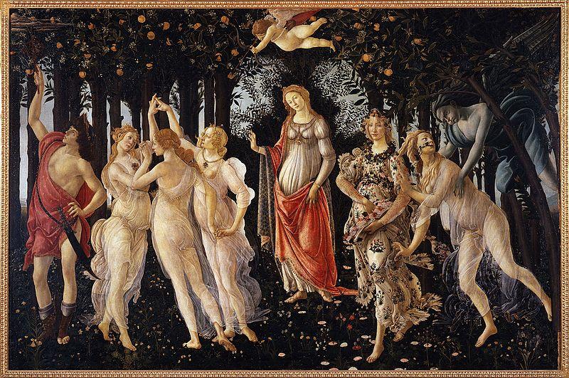 «La primavera<» de Botticelli, 1482, Uffizi Gallery