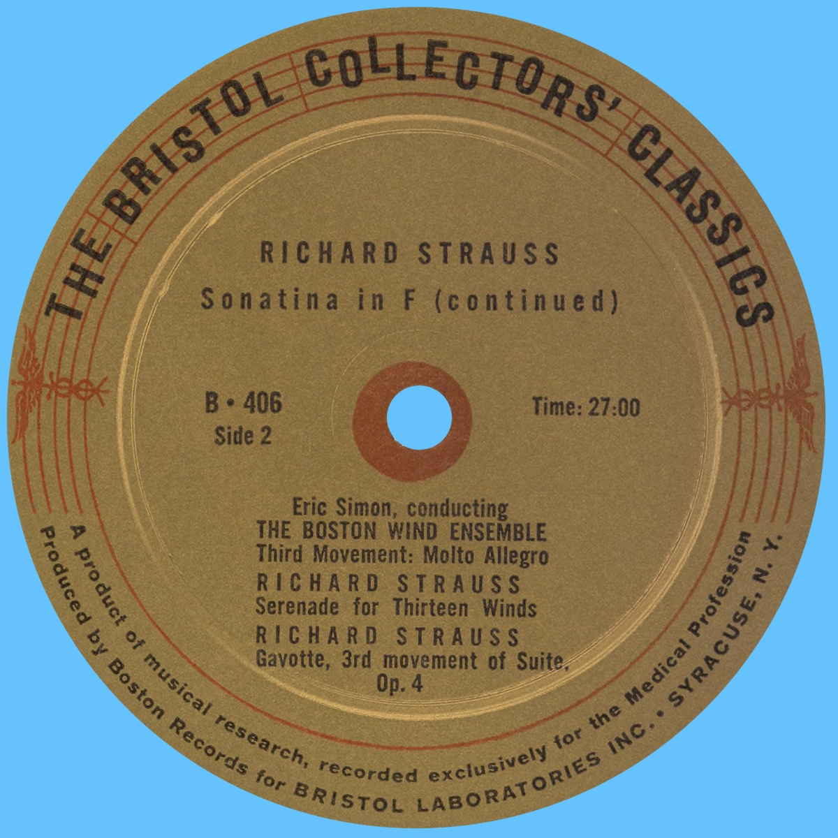Verso du disque Boston Records B 406