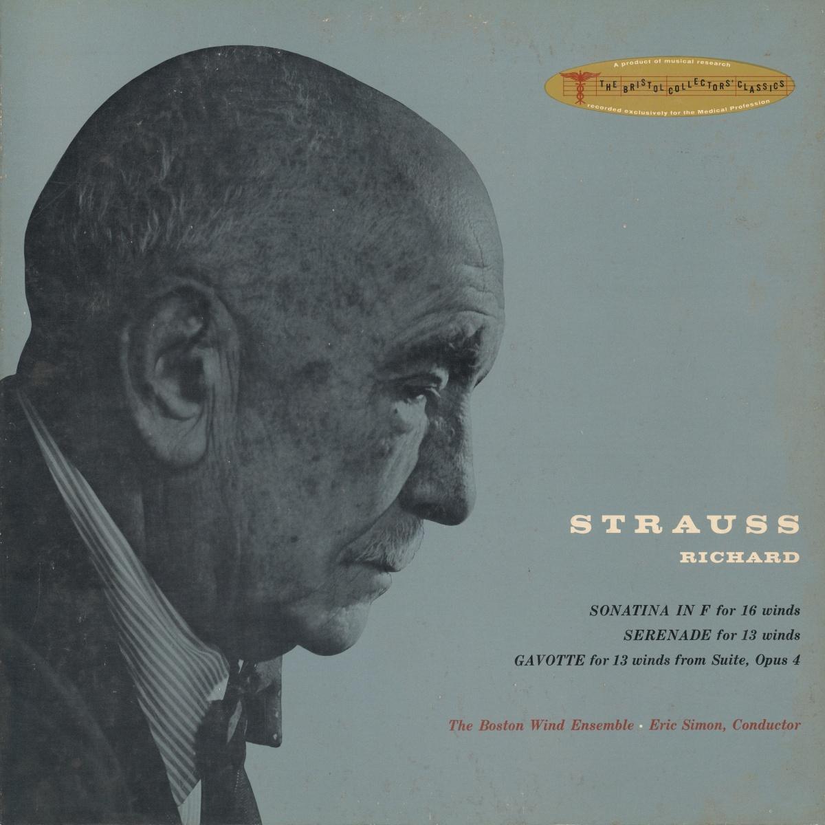 Recto de la pochette du disque Boston Records B 406, avec un portrait de Richard Strauss fait par Yousuf Karsh