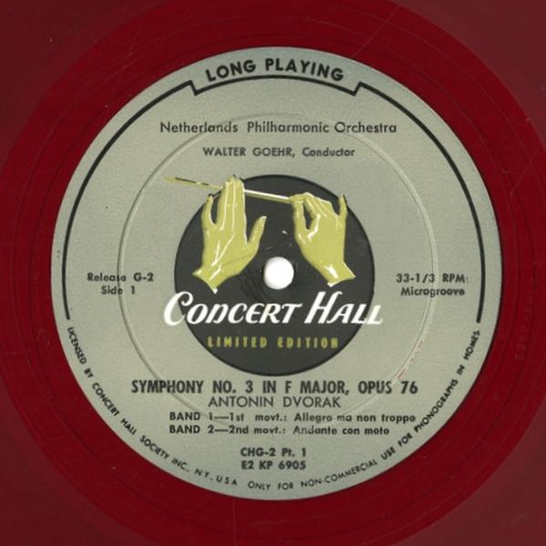 Étiquette recto du disque Concert Hall Limited Edition Release G-2