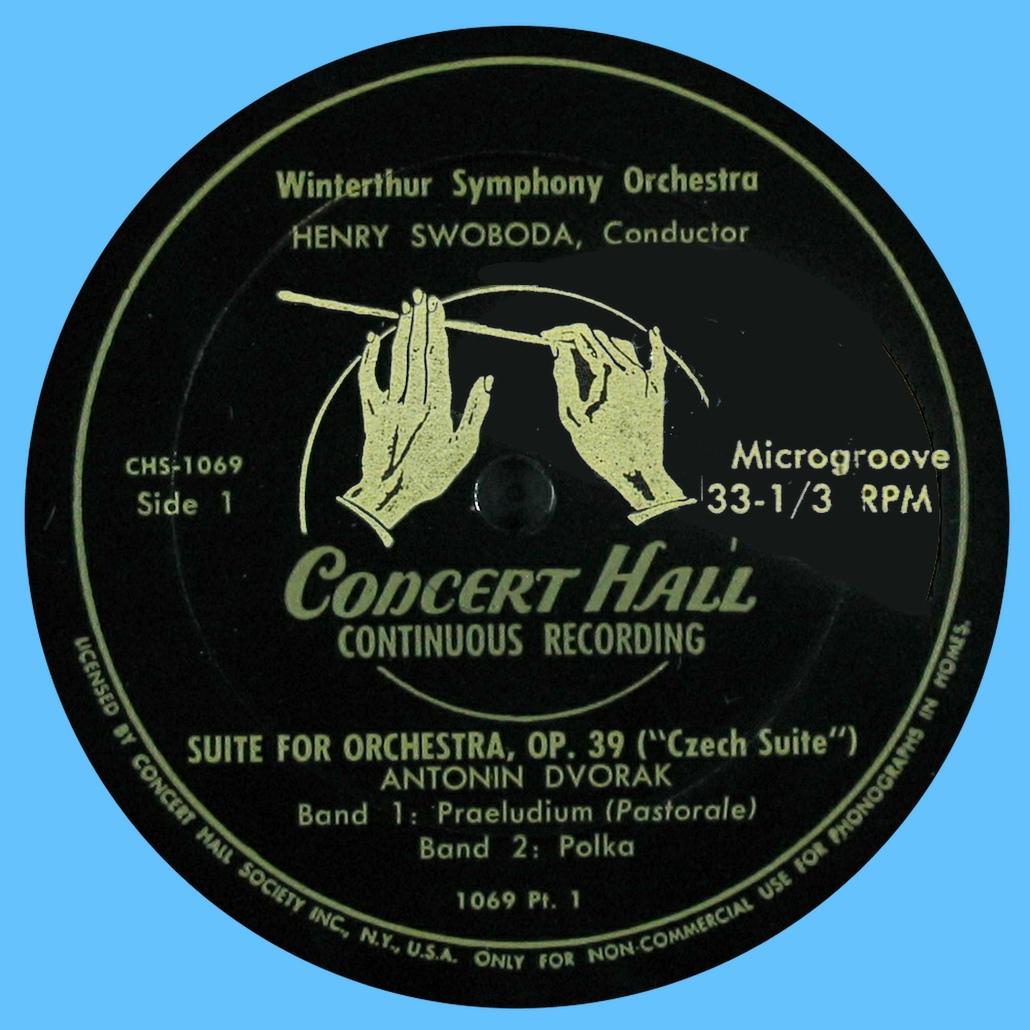 Étiquette recto du disque Concert Hall CHS 1069