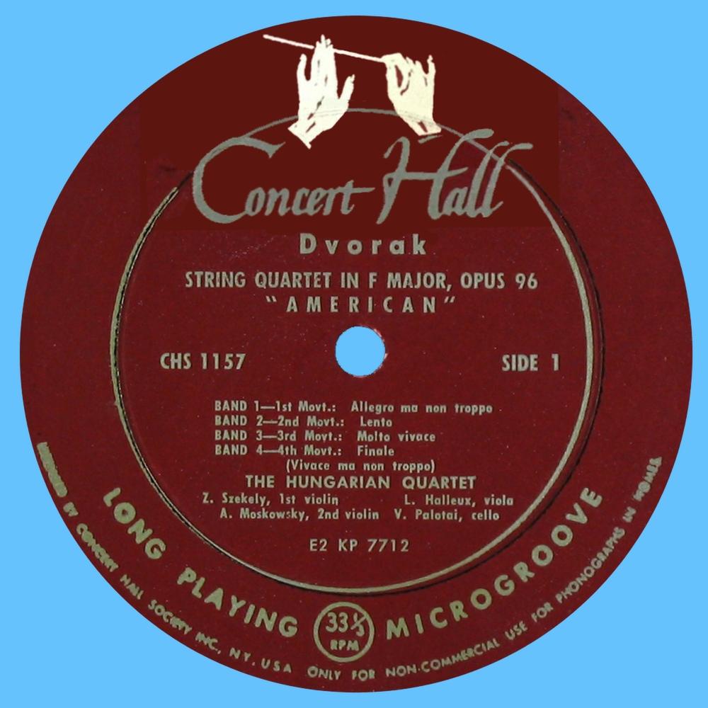 Étiquette recto du disque Concert Hall CHS 1157