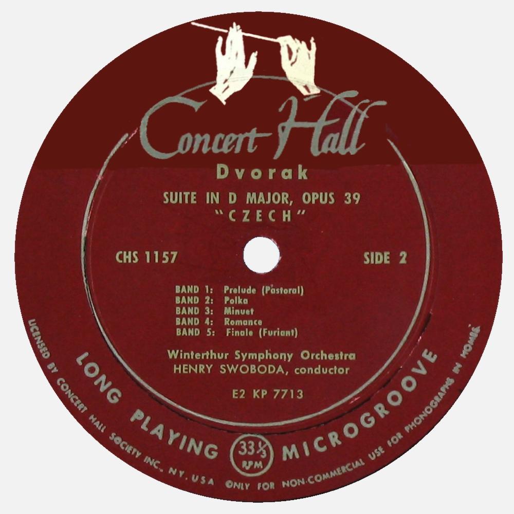 Étiquette verso du disque Concert Hall CHS 1157