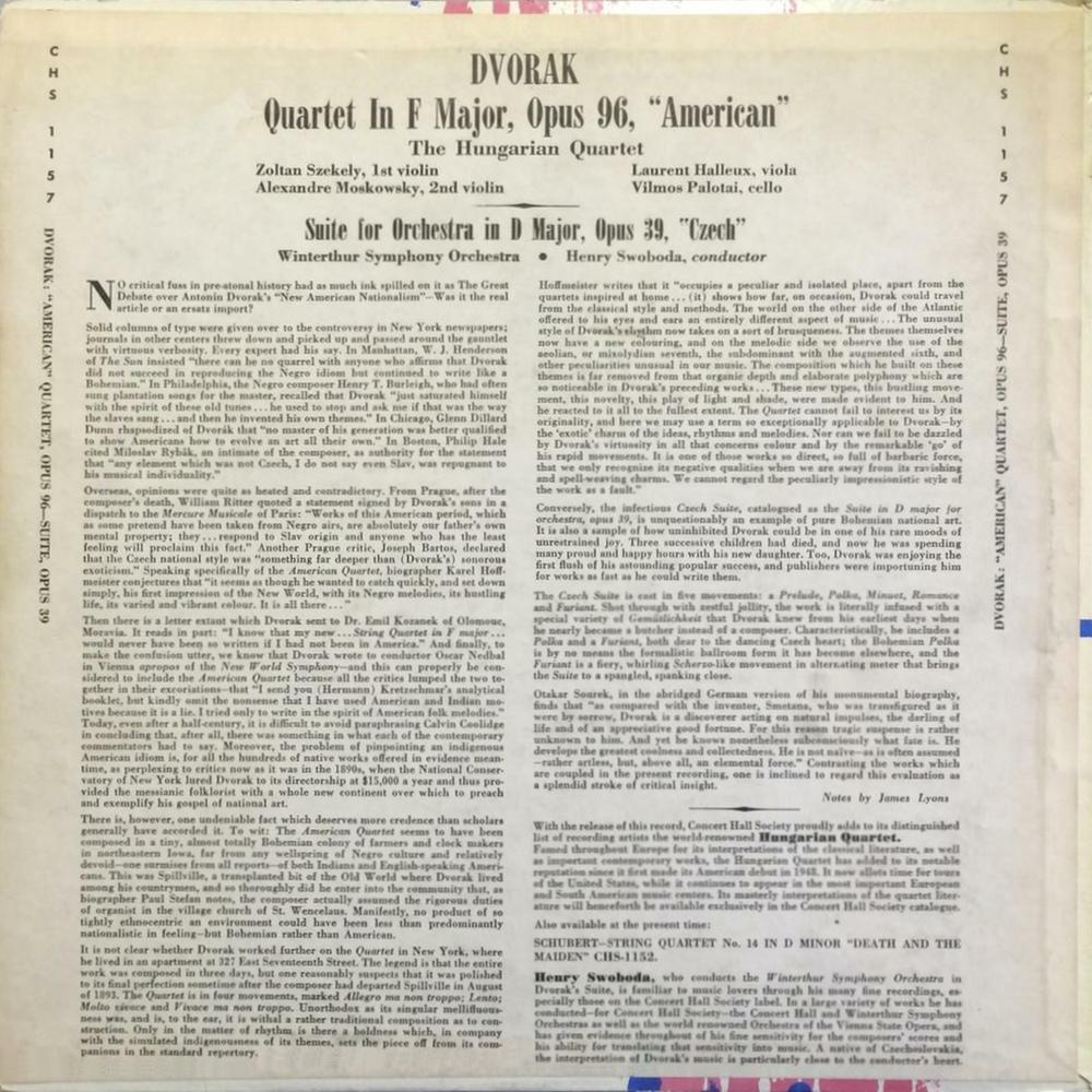 Verso de la pochette du disque Concert Hall CHS 1157