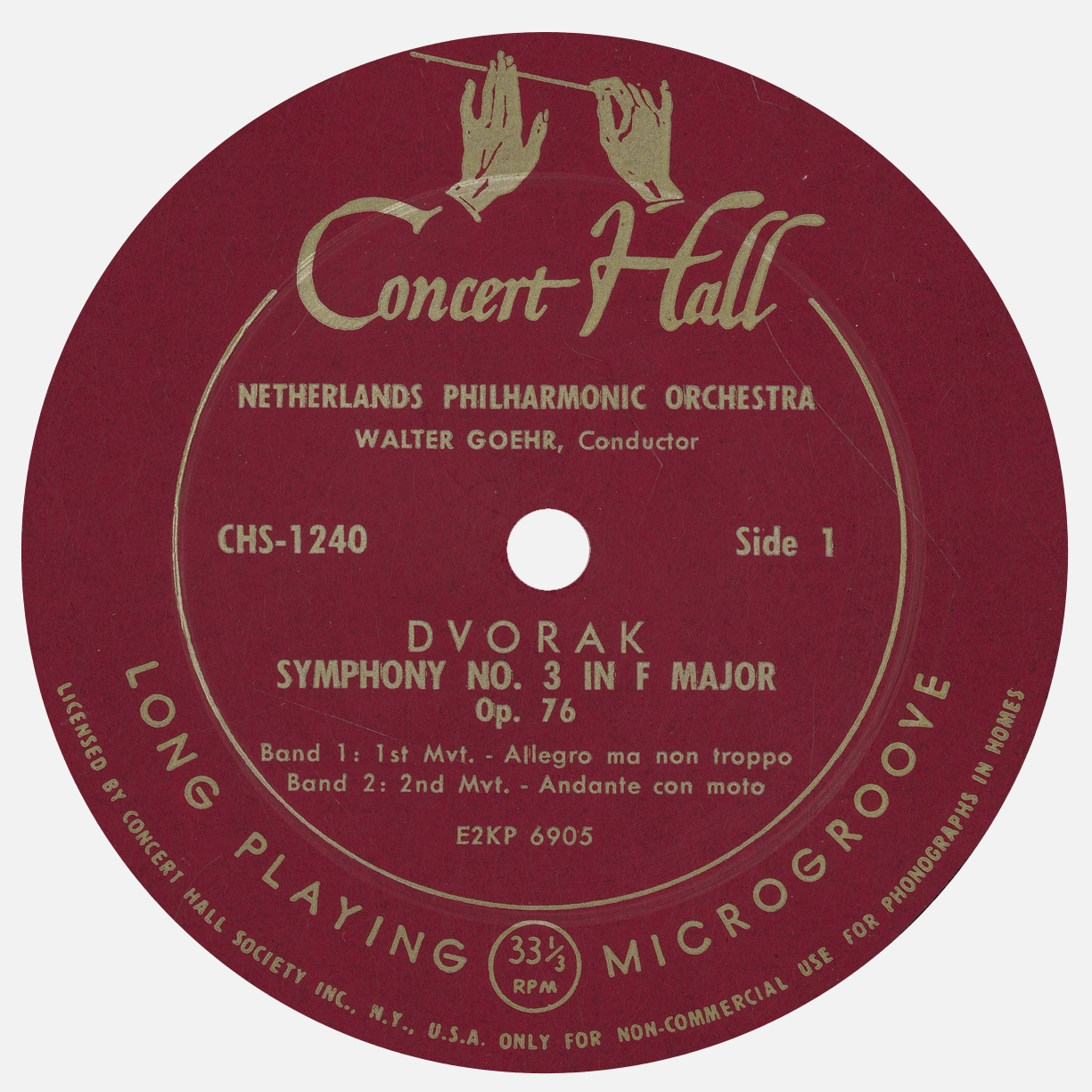Étiquette recto du disque Concert Hall CH 1240