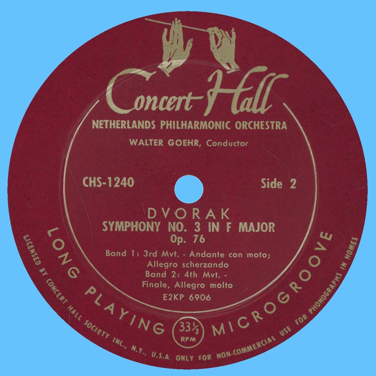 Étiquette verso du disque Concert Hall CH 1240