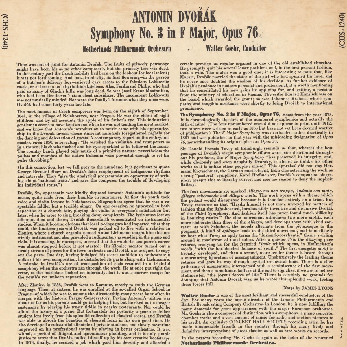 Verso de la pochette du disque Concert Hall CH 1240