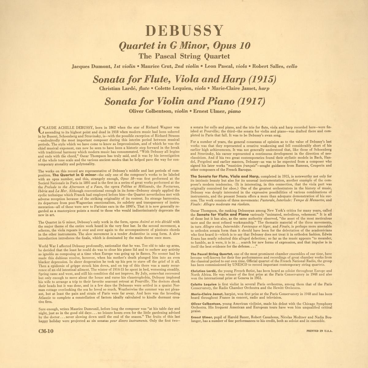 Verso de la pochette du disque «Chamber Music Society» CM-10