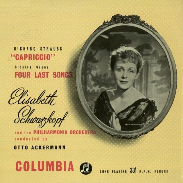 Recto de la pochette du disque Columbia 33 CX 1107, avec Elisabeth SCHWARZKOPF