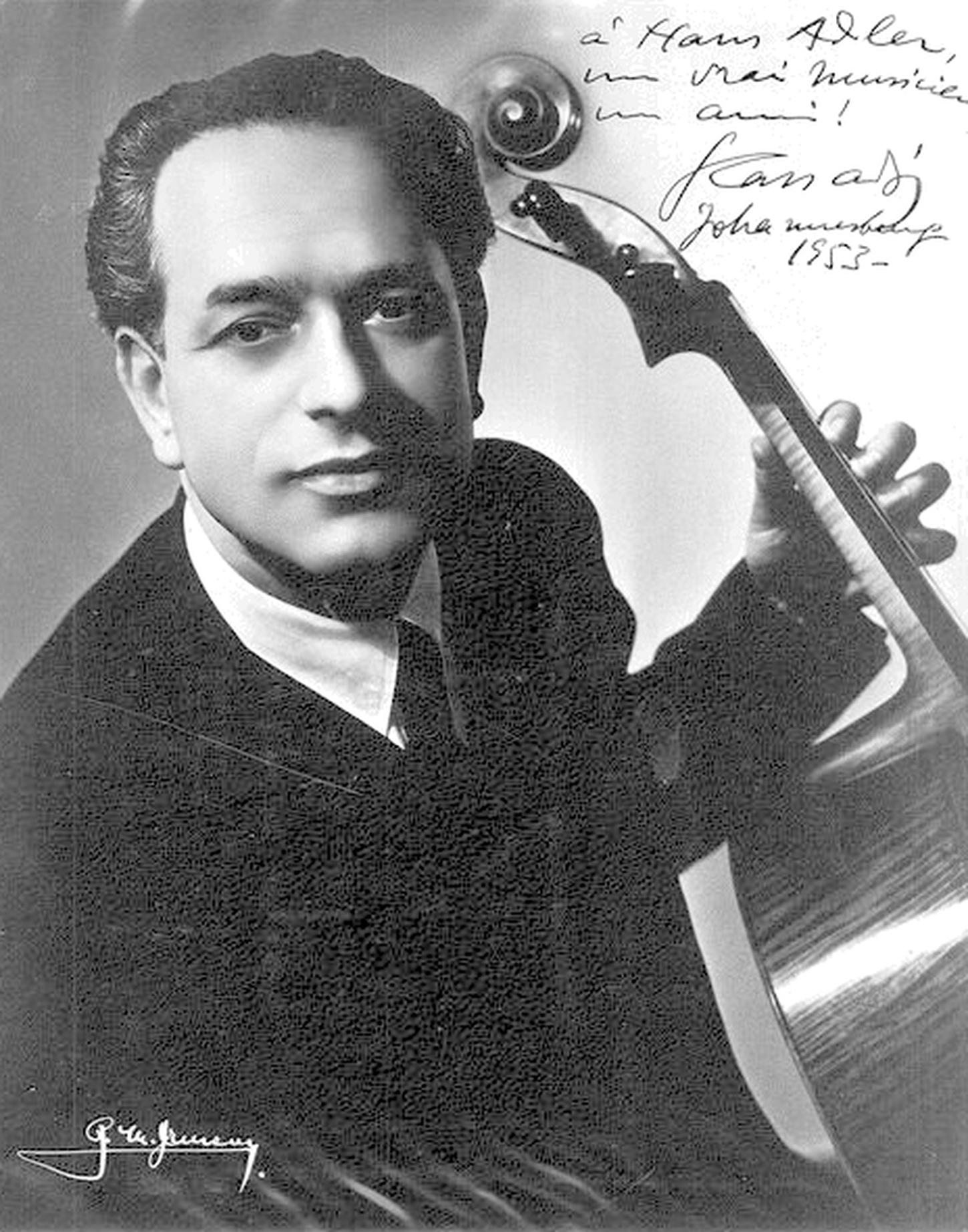 Gaspar CASSADÓ, début années 1950, avec dédicace à Hans Adler, Afrique du Sud, source: Hans Adler music Collection, http://hansadlermusiciansdedications.blogspot.ca/, Cliquer sur la photo pour une vue agrandie et les références