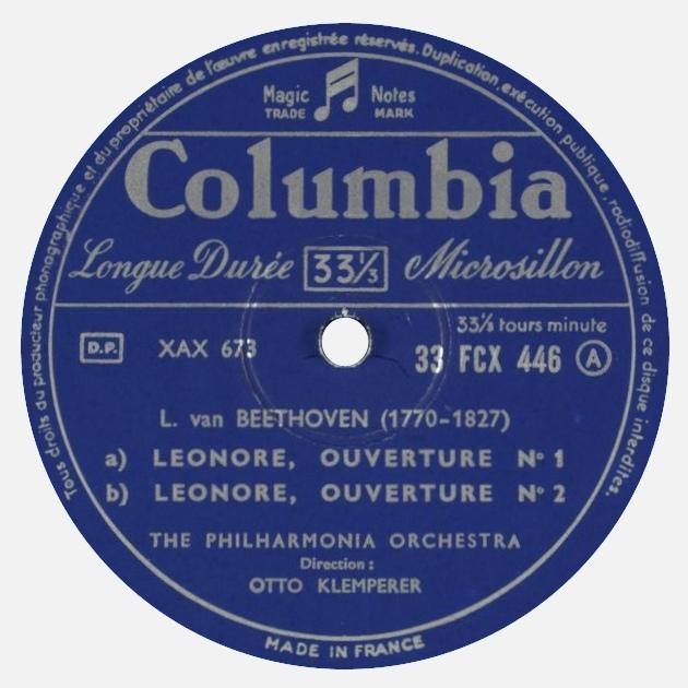 Étiquette verso du disque Columbia 33 FCX 446