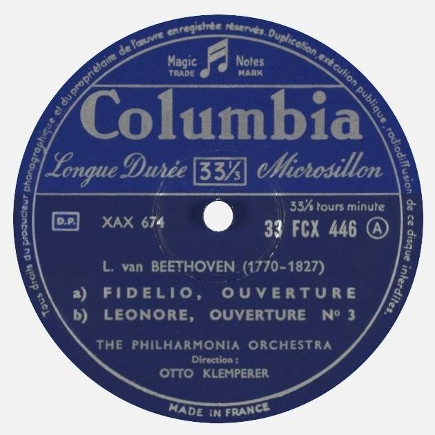 Étiquette recto du disque Columbia 33 FCX 446, Cliquer sur la photo pour une vue agrandie
