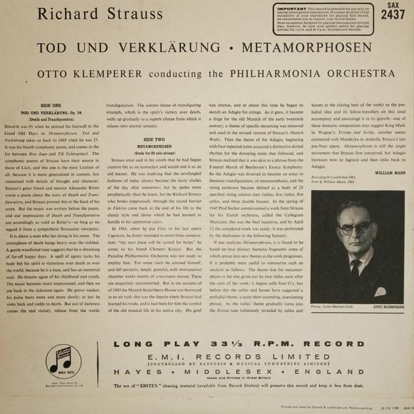 Verso de la pochette du disque Columbia SAX 2437