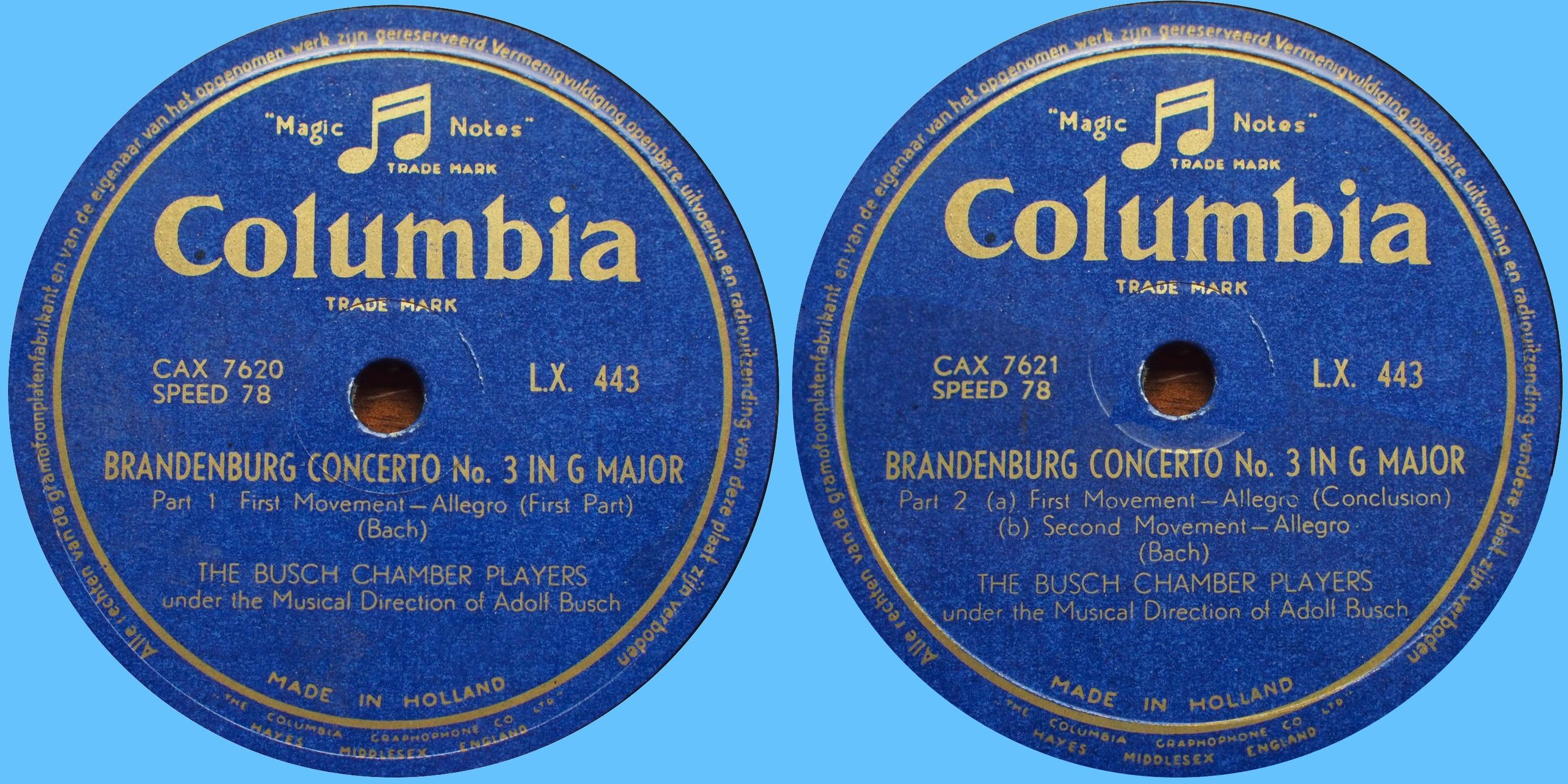 Étiquettes du 78tour Columbia [Matr.-Nr. CAX 7620, 7621], LX 443