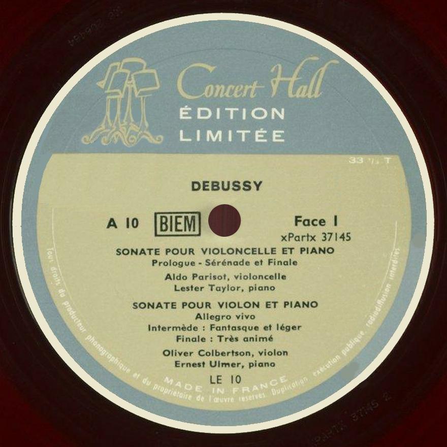 Étiquette recto du disque Concert Hall, Édition limitée, A10 / LE10
