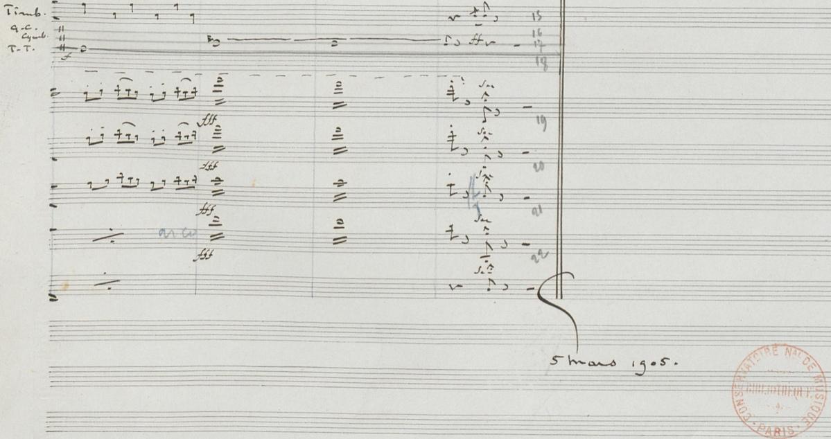 Datation, dernière page de la partition manuscrite conservée à la Bibliothèque Nationale de France