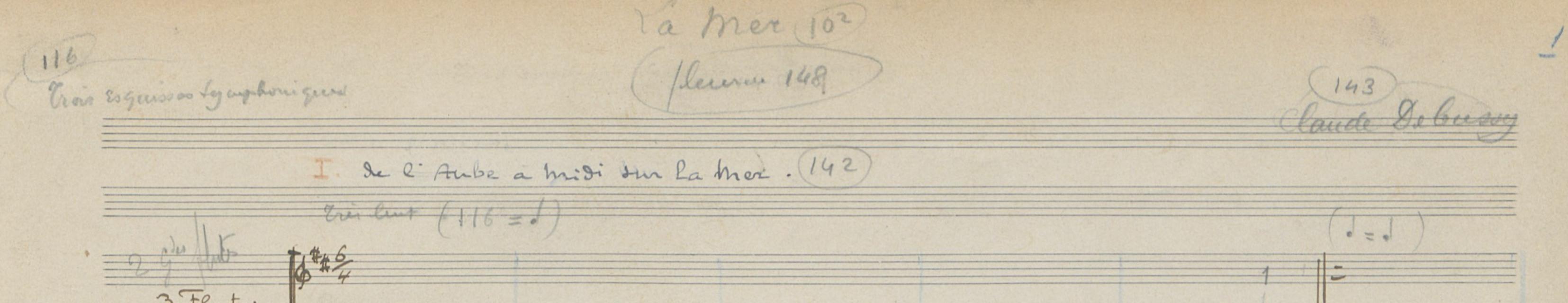 Début de la partition manuscrite conservée à la Bibliothèque Nationale de France