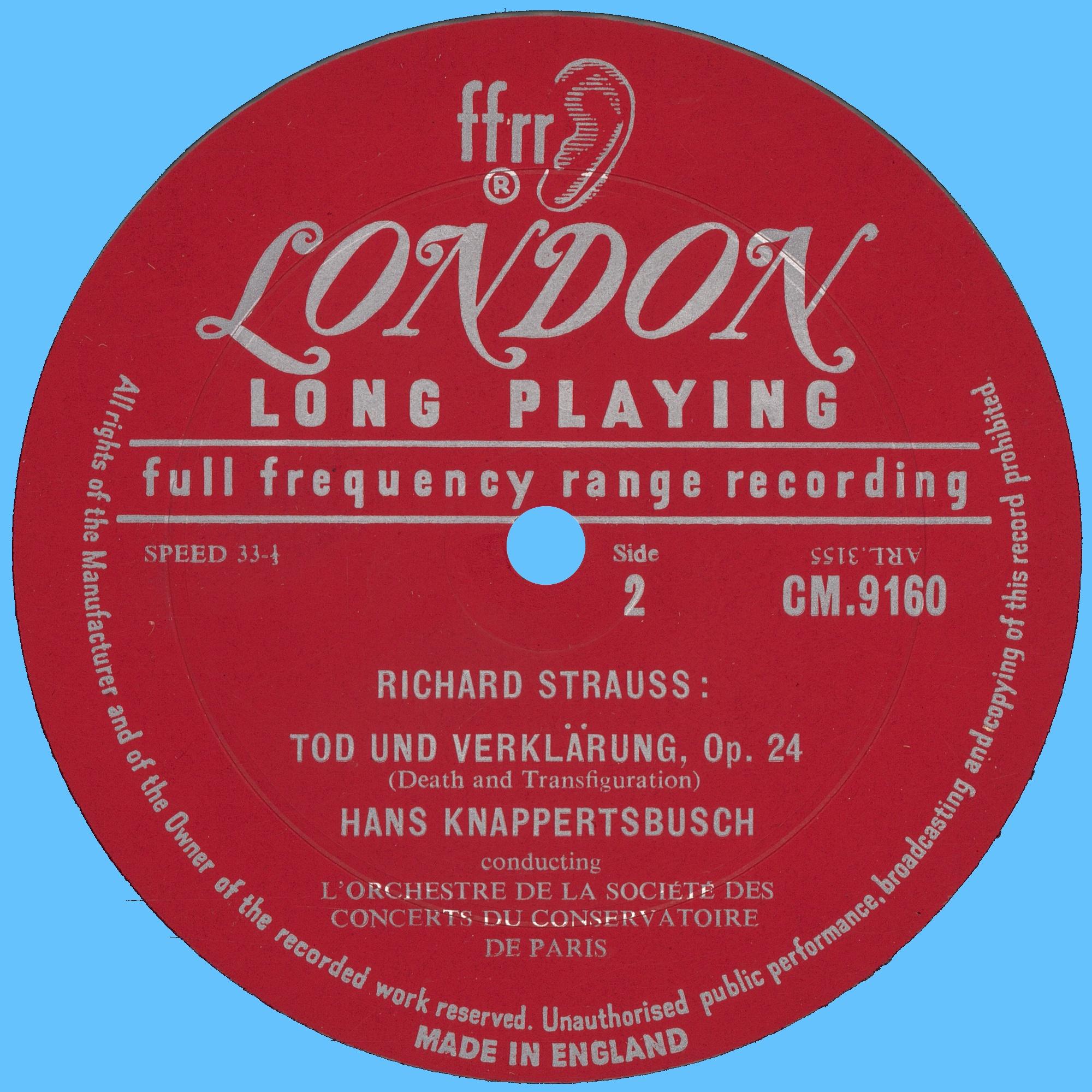 Disque Decca CM 9160, étiquette verso