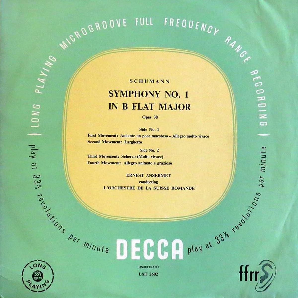 Recto de la pochette du disque Decca LXT 2602, cliquer pour plus d'infos