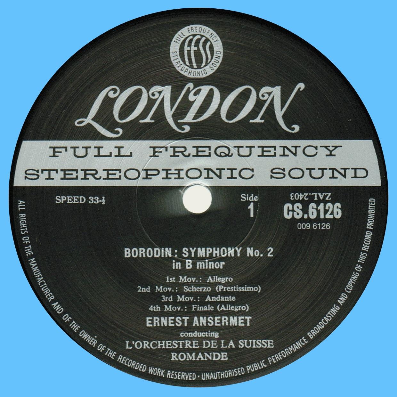 Decca London CS 6126, étiquette recto, cliquer pour une vue agrandie