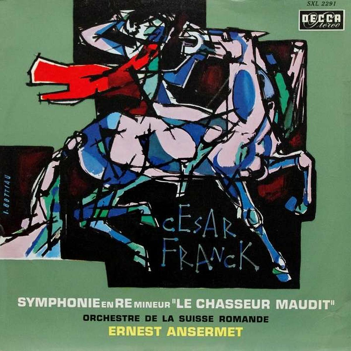 Recto d'une édition française de la pochette du disque Decca SXL 2291, graphisme de Ivan Bottiau, cliquer pour plus d'infos