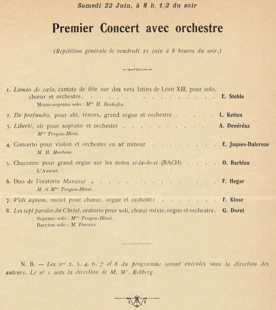 Extrait du programme de la 2e Fête de Musique, cité de la page http://onstage.rism-ch.org/source/CH_Gc_prg_05-0786, collection du Conservatoire de Genève