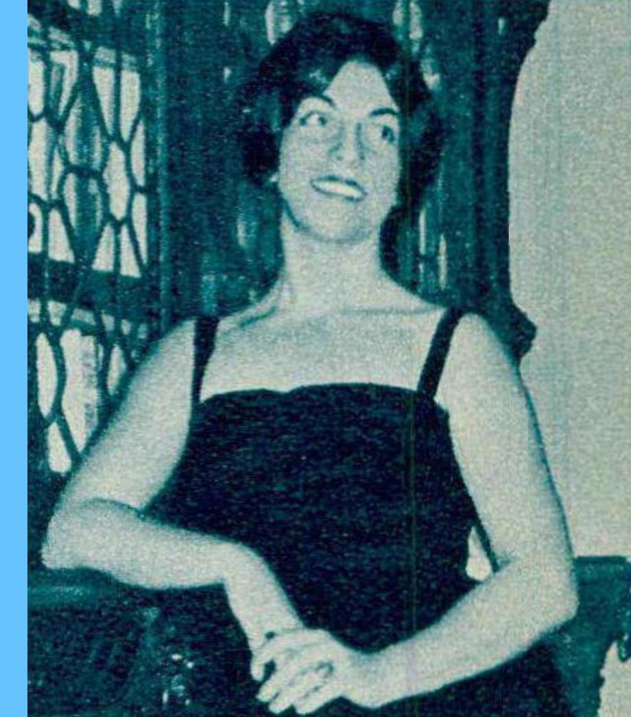 Lucienne Devallier, portrait fait par Photo F.Mueller, publié entre autres dans le Radio Je vois tout TV du 10 mai 1962, No 19, page 51