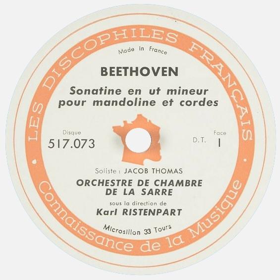 Étiquette recto du disque Les Discophiles Français 517 073, Cliquer sur la photo pour une vue agrandie