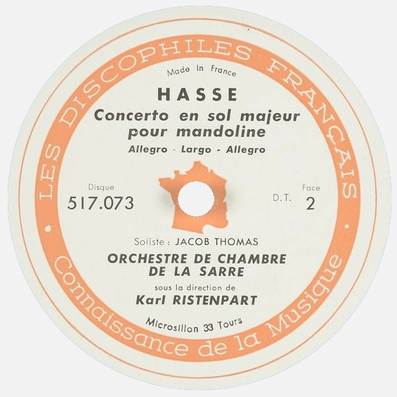 Étiquette verso du disque Les Discophiles Français 517 073, Cliquer sur la photo pour une vue agrandie