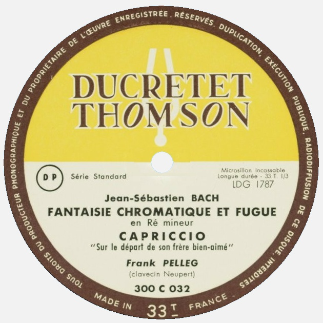 Étiquette recto du disque Ducretet-Thomson 300 C 032, Cliquer sur la photo pour une vue agrandie