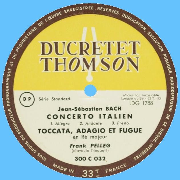 Étiquette verso du disque Ducretet-Thomson 300 C 032