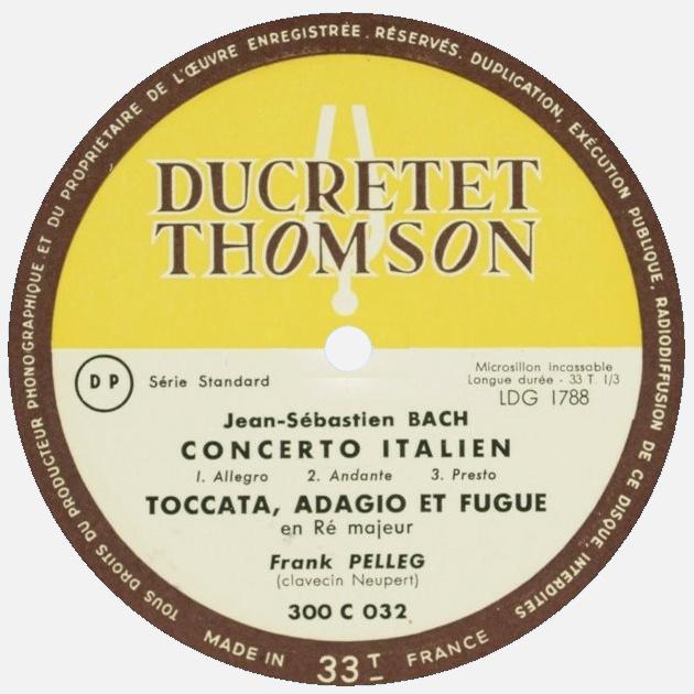 Étiquette verso du disque Ducretet-Thomson 300 C 032, Cliquer sur la photo pour une vue agrandie